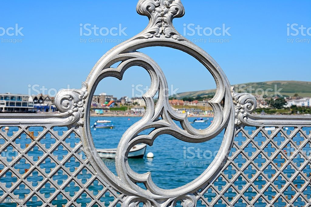 Victorian pier railings detail, Swanage. stock photo