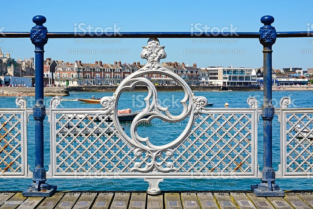 Victorian pier railings, Swanage. stock photo