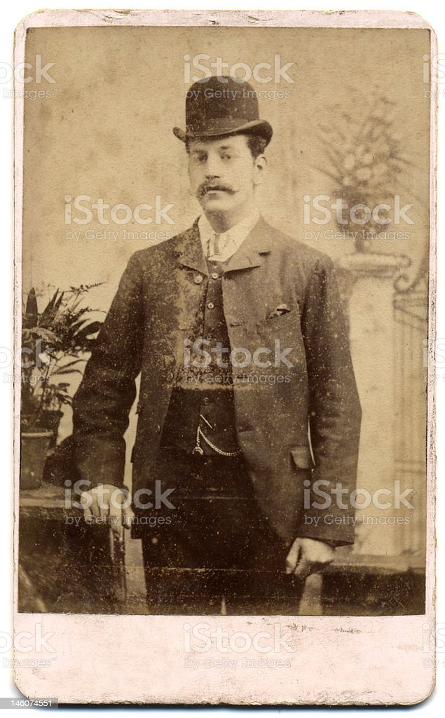 Victorian Portrait on Card - a man with bowler hat stock photo