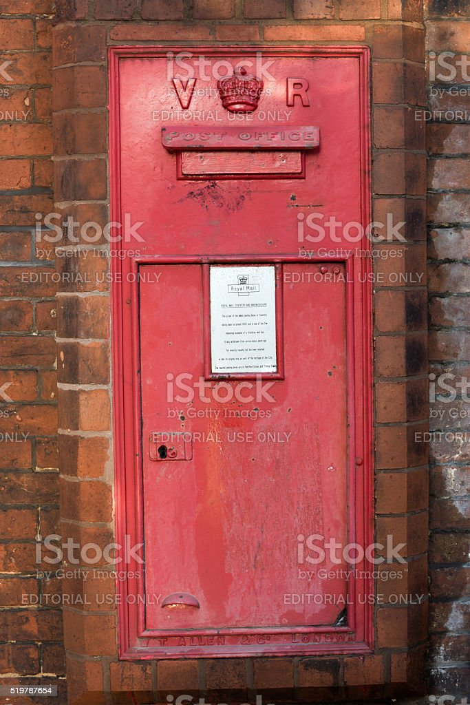 Victorian Postbox in English Country Barn stock photo
