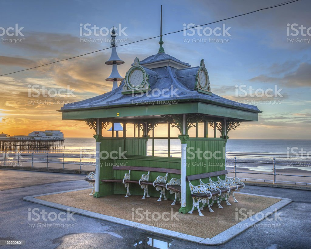 Victorian promenade hut at Blackpool. stock photo