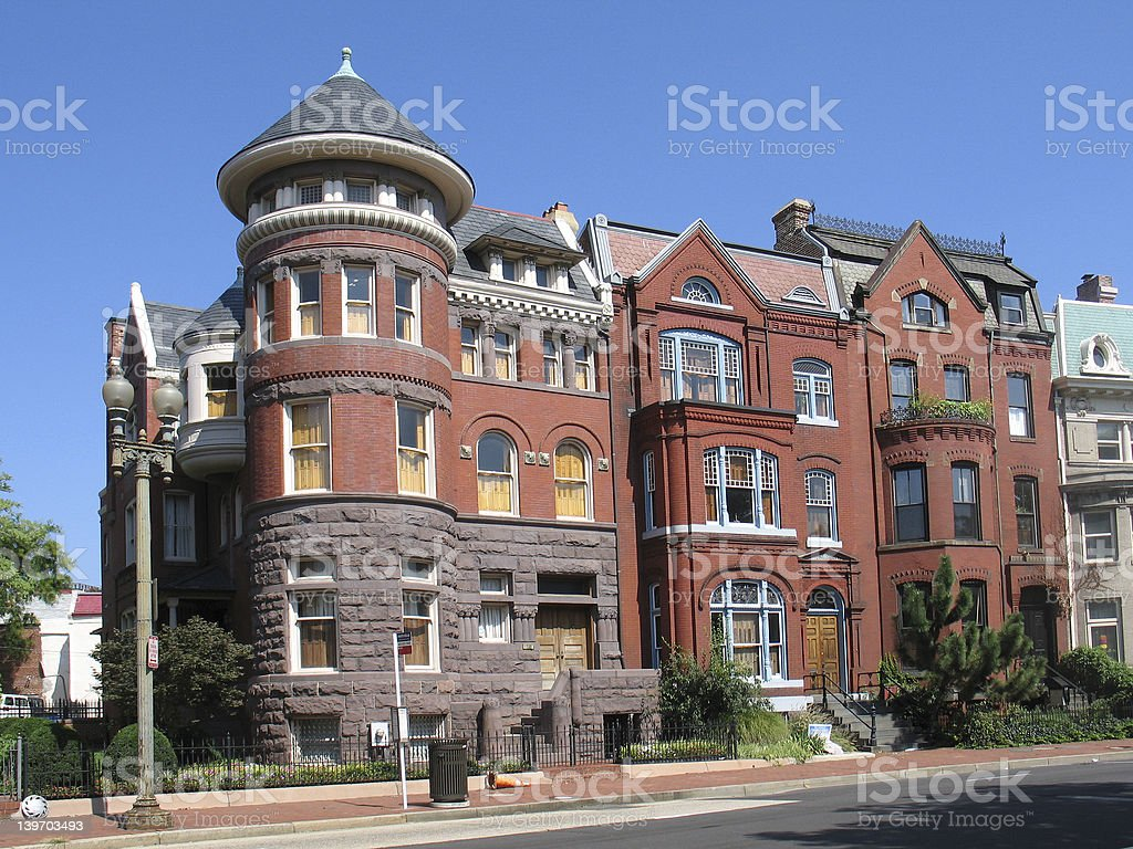 DC Victorian Rowhouses- angled royalty-free stock photo