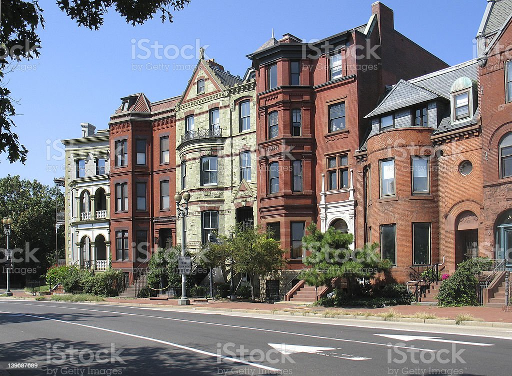 DC Victorian Rowhouses-left royalty-free stock photo