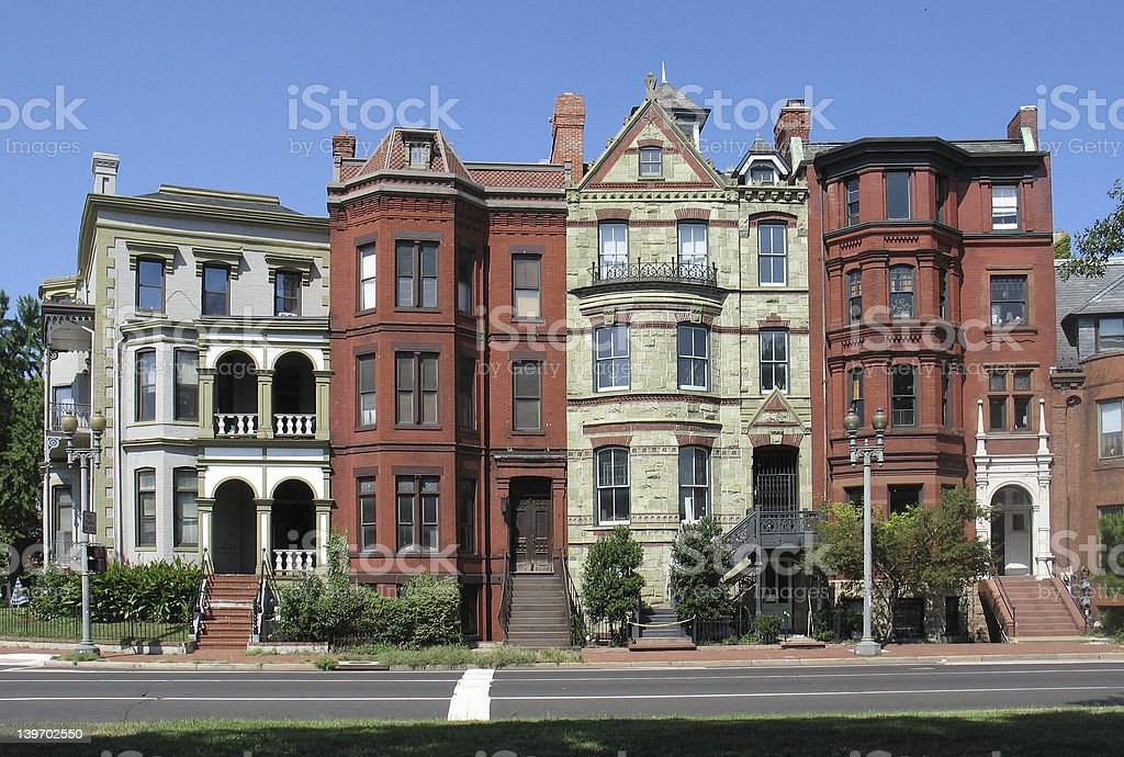 DC Victorian Rowhouses-wide stock photo