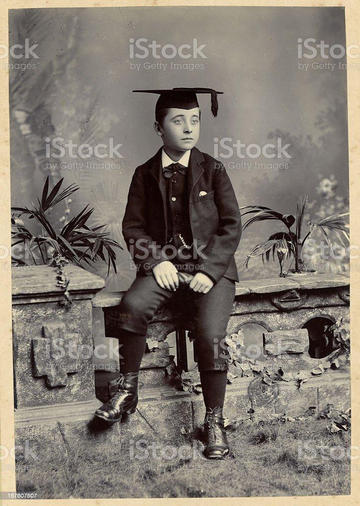 Victorian Schoolboy Vintage Photograph stock photo