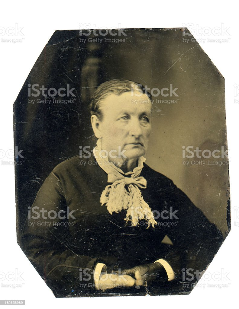 Victorian Senior Woman - Old Tintype Photograph royalty-free stock photo