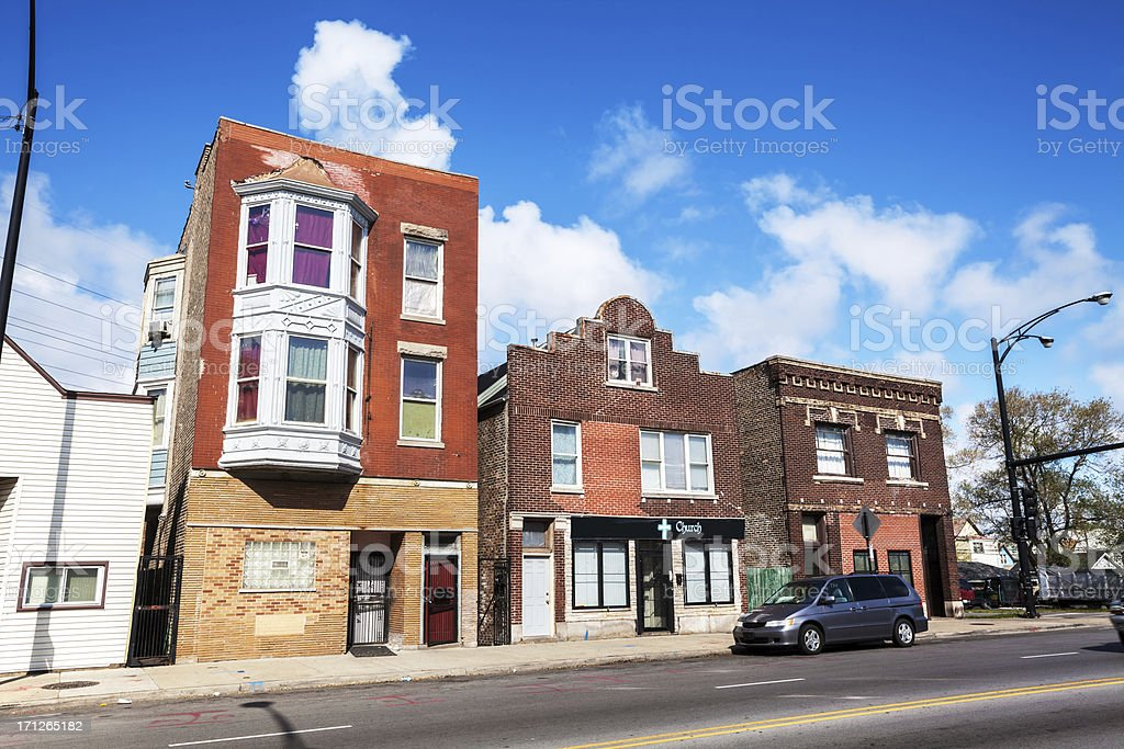 Victorian Shop Buildings in East Side, Chicago stock photo