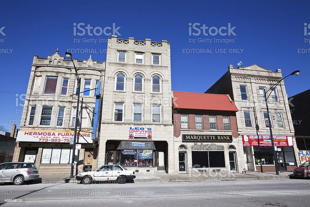 Victorian Shop Buildings in South Lawndale, Chicago stock photo