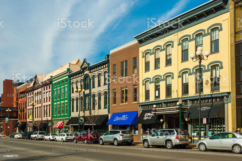 Victorian Square shoppes and other architecture in Lexington stock photo