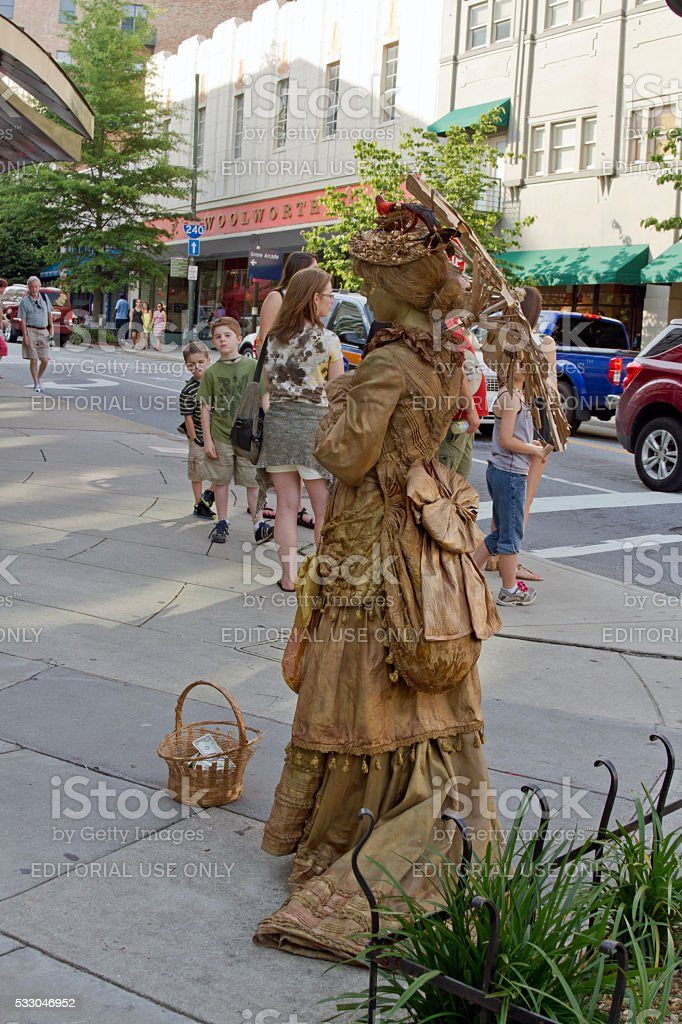 Victorian Statue Busker in Downtown Asheville stock photo
