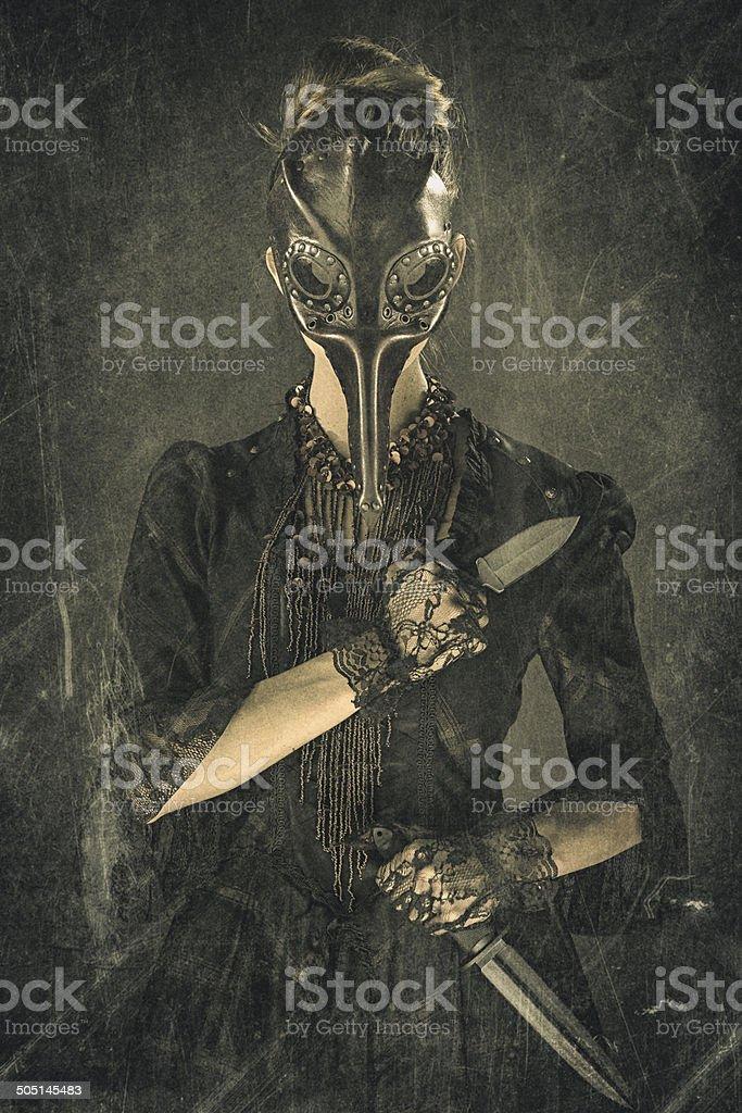 Victorian Steampunk Plague Doctor Assassin stock photo