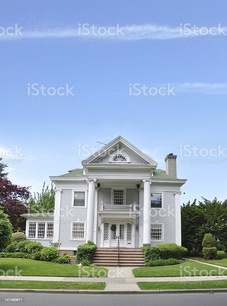 Victorian Style Home Front Yard Sidewalk Curb stock photo