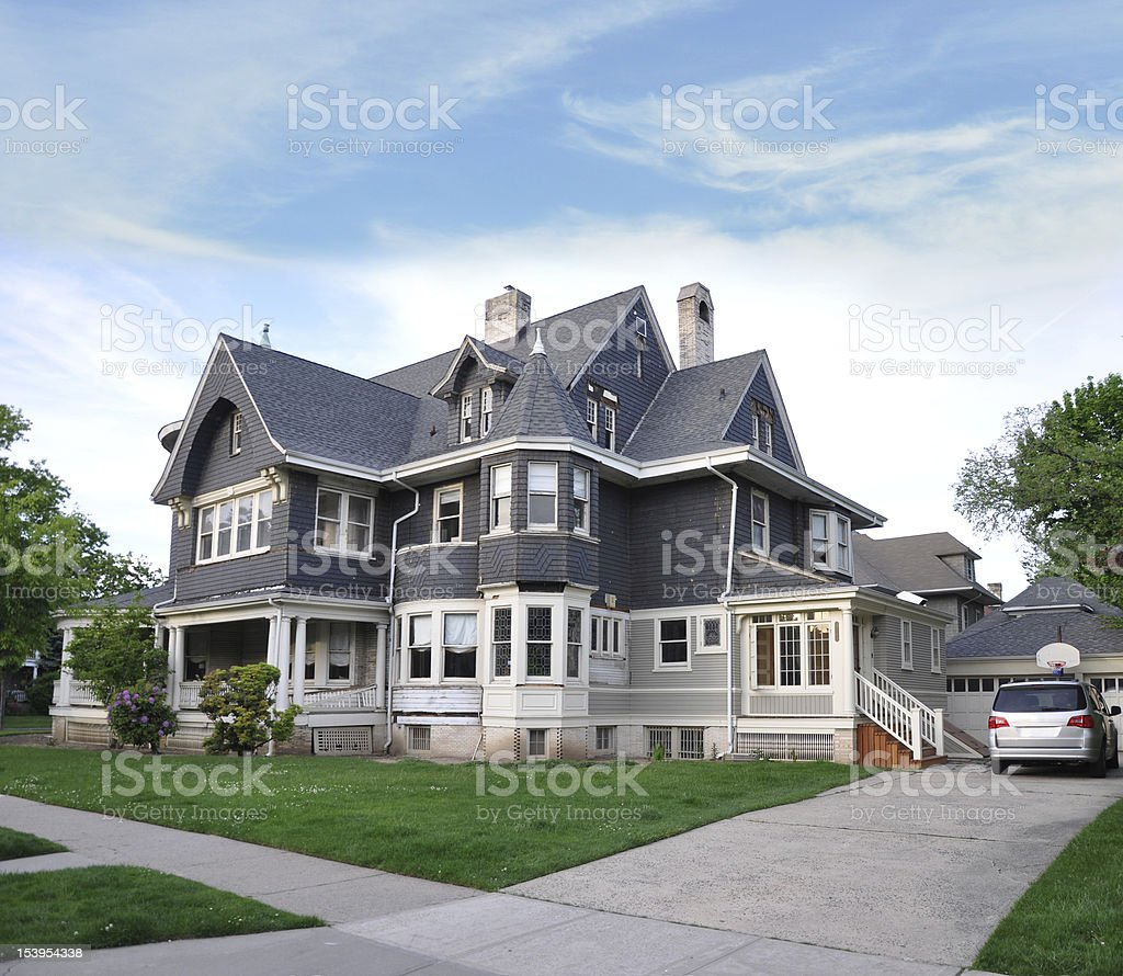 Victorian Style Home Front Yard Sidewalk stock photo