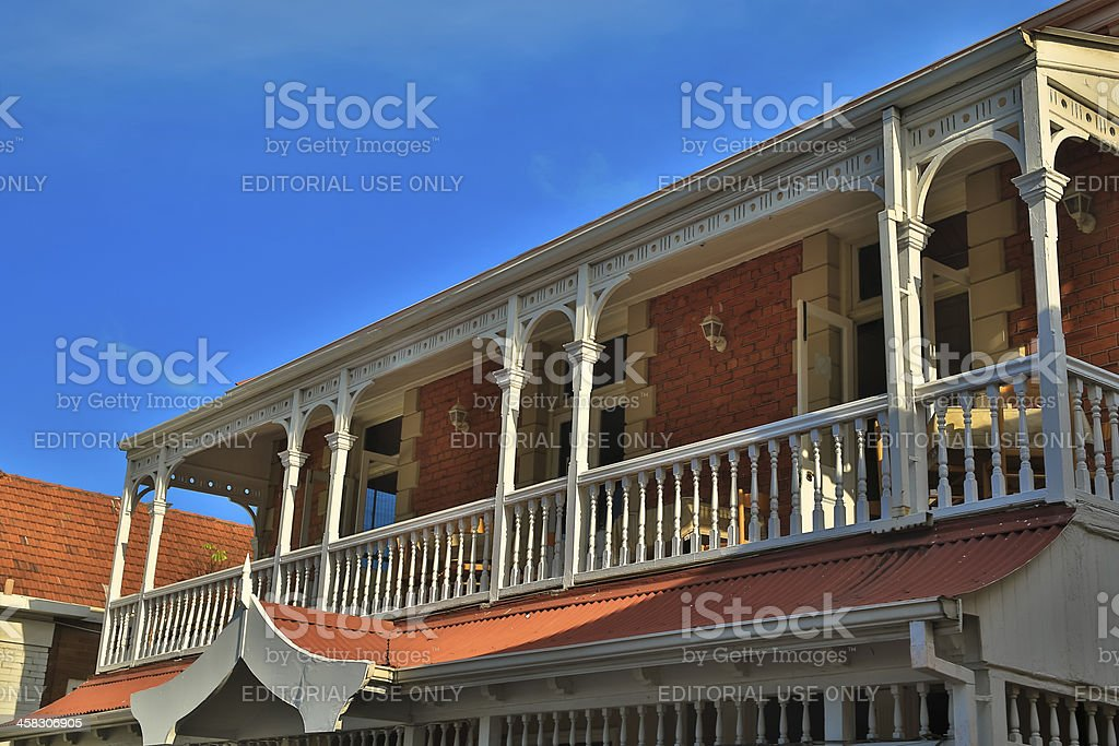 Victorian style homes with balcony royalty-free stock photo