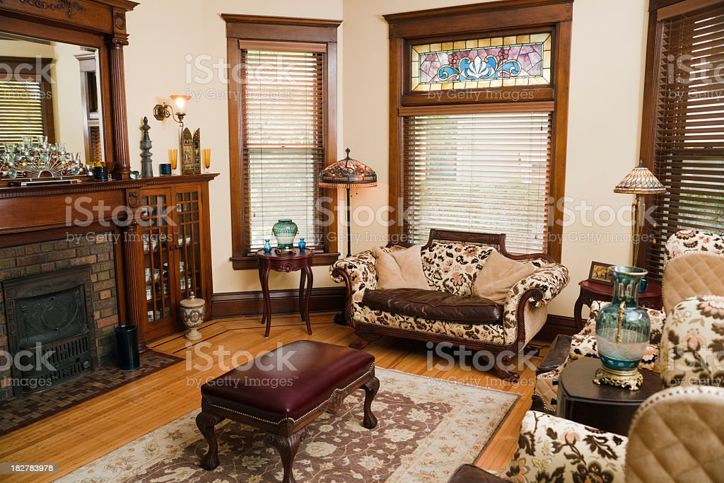 Victorian Style Living Room, Old-fashioned, Antique Domestic Residential Home Interior stock photo