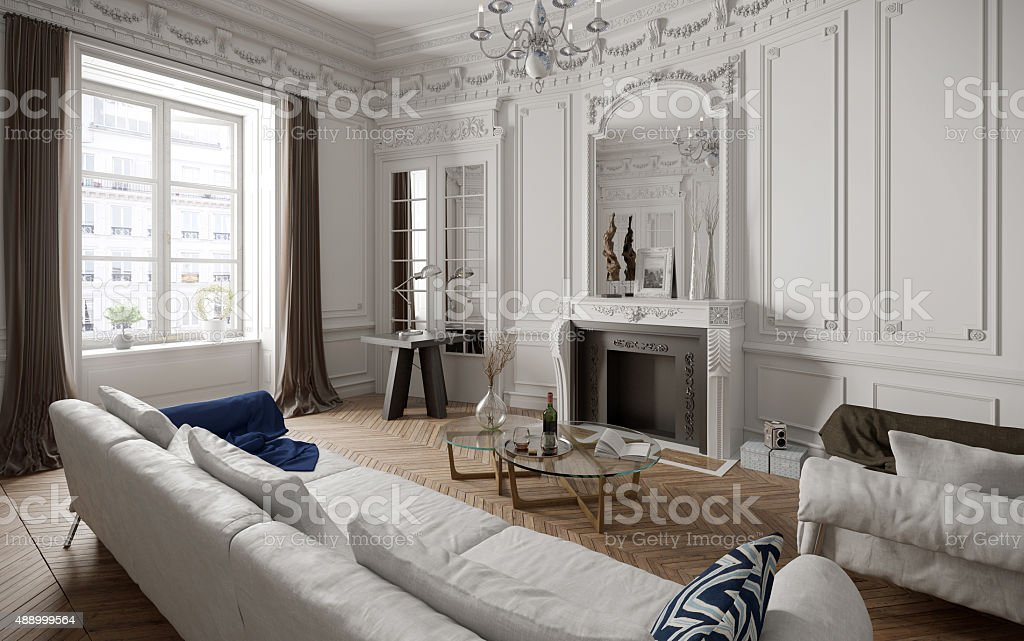 Victorian style living room with modern furniture stock photo