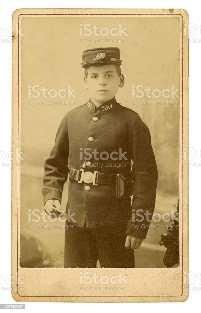 Victorian Telegram Messenger Boy stock photo