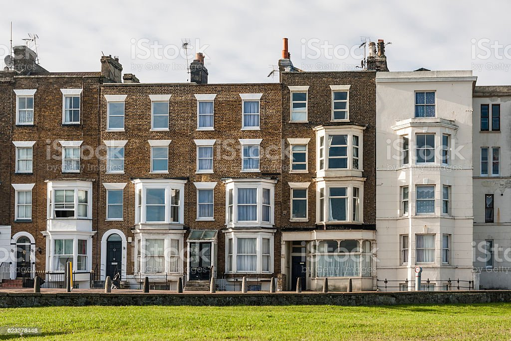 Victorian terraced houses in Margate, Kent, England stock photo