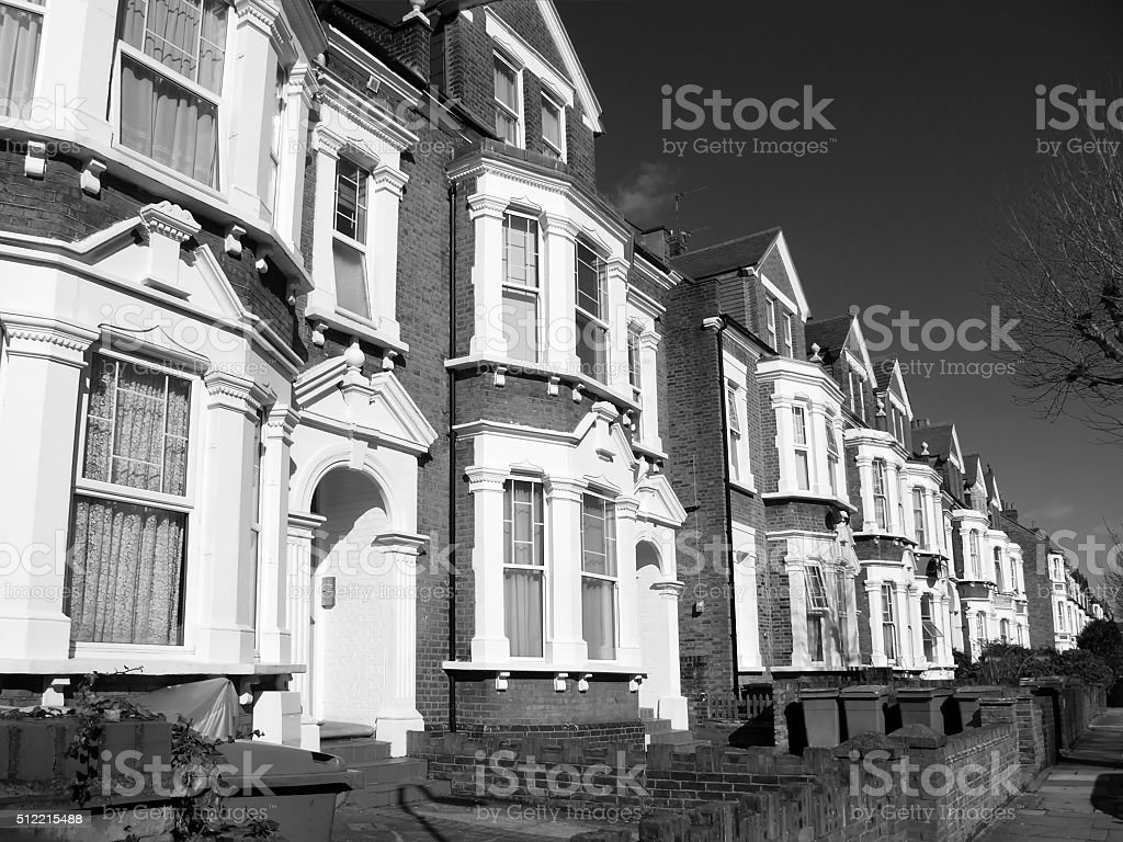 Victorian terraced houses stock photo