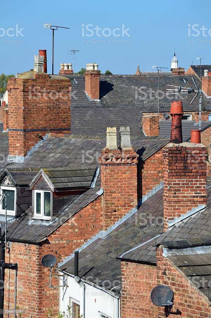 Victorian Terraced Housing Rooftops in English Town royalty-free stock photo