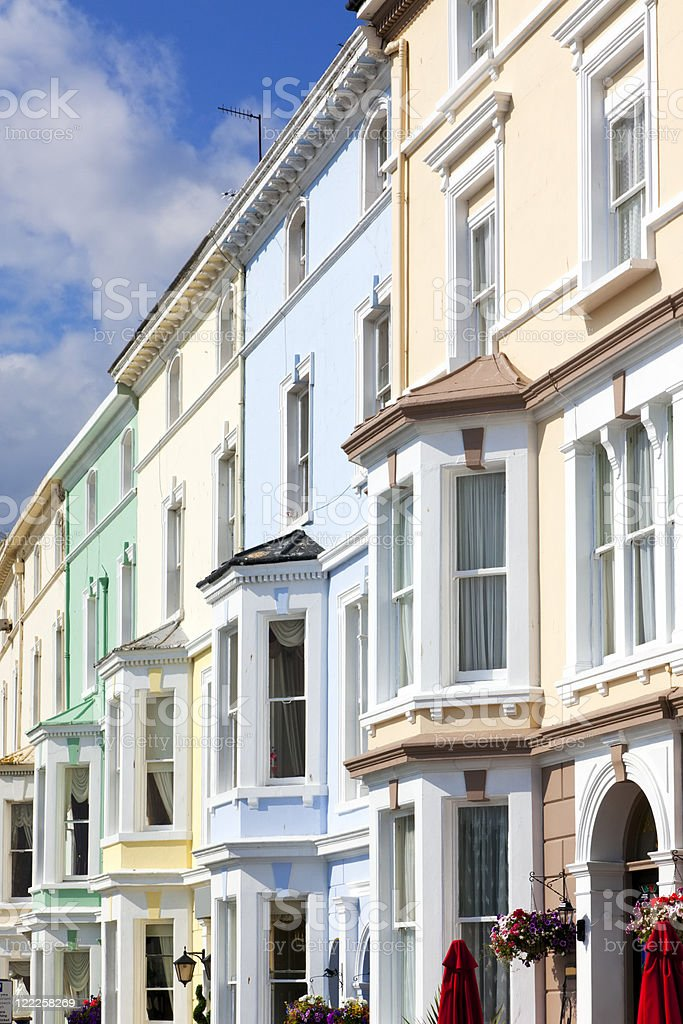victorian town houses at Llandudno stock photo