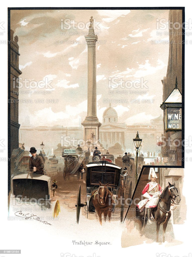 Victorian traffic in Trafalgar Square, London stock photo