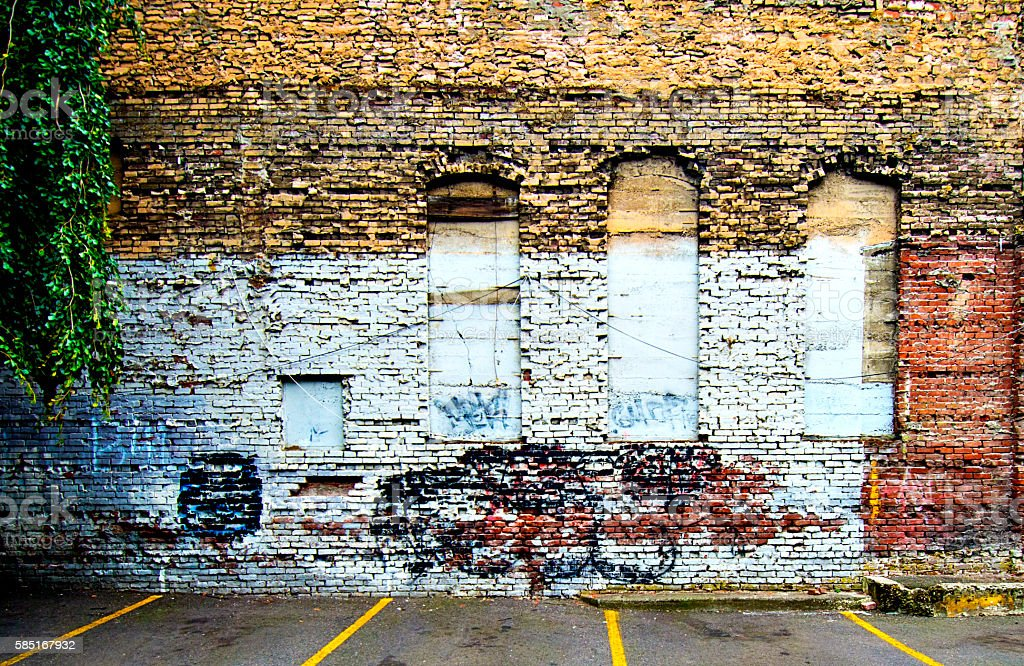 Victorian Two Story Abandoned Brick Building Neo-classica Facade, l 3XL stock photo