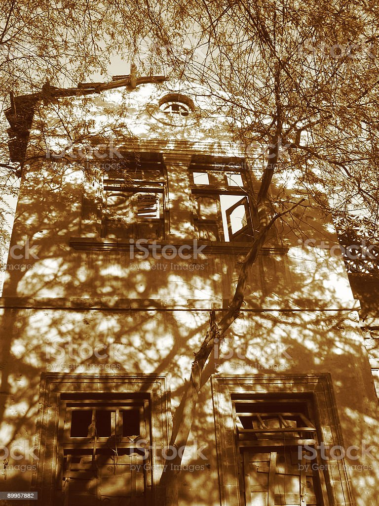 Victorian Villa in sepia royalty-free stock photo