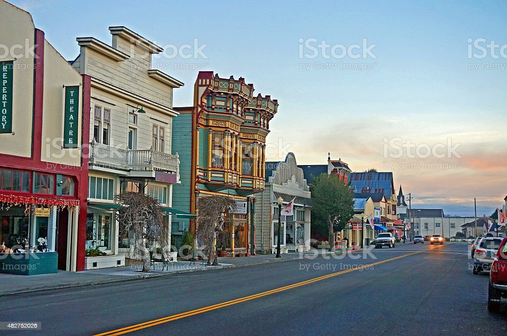 Victorian Village of Ferndale, California stock photo