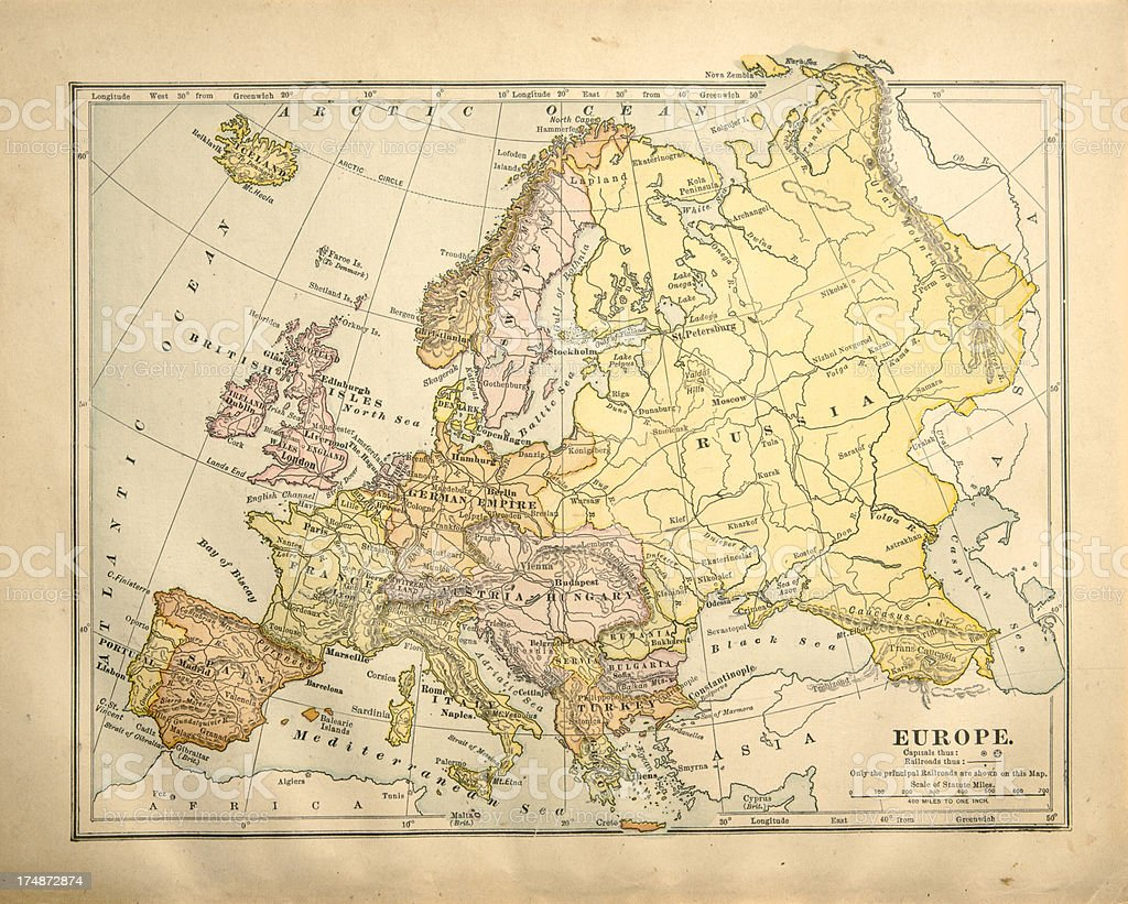 Victorian Vintage Map of Europe royalty-free stock photo