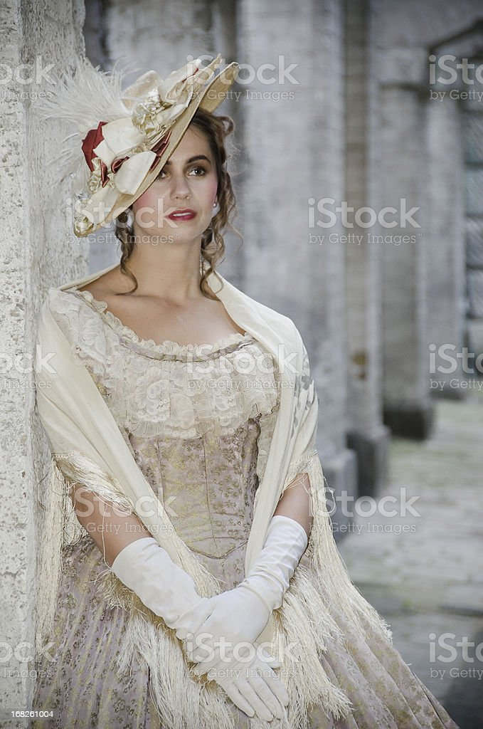 Victorian Woman Looking Away stock photo