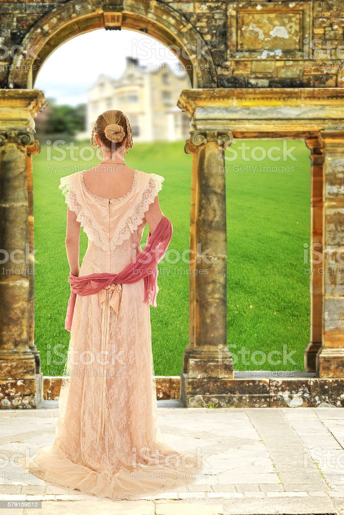 victorian woman with pink scarf stock photo