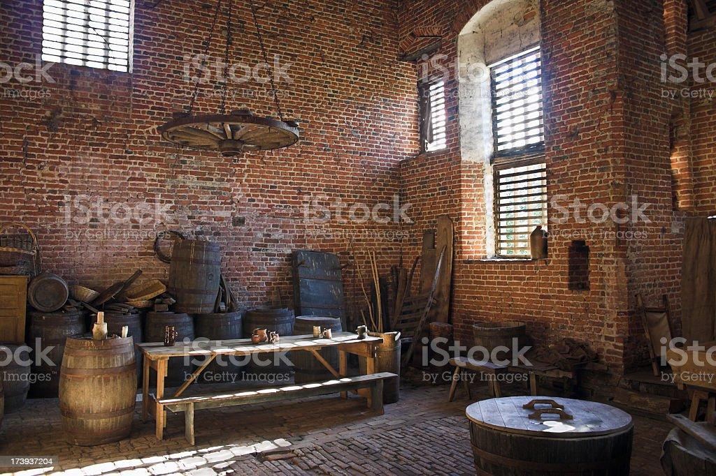 victorian workman's workshop room stock photo