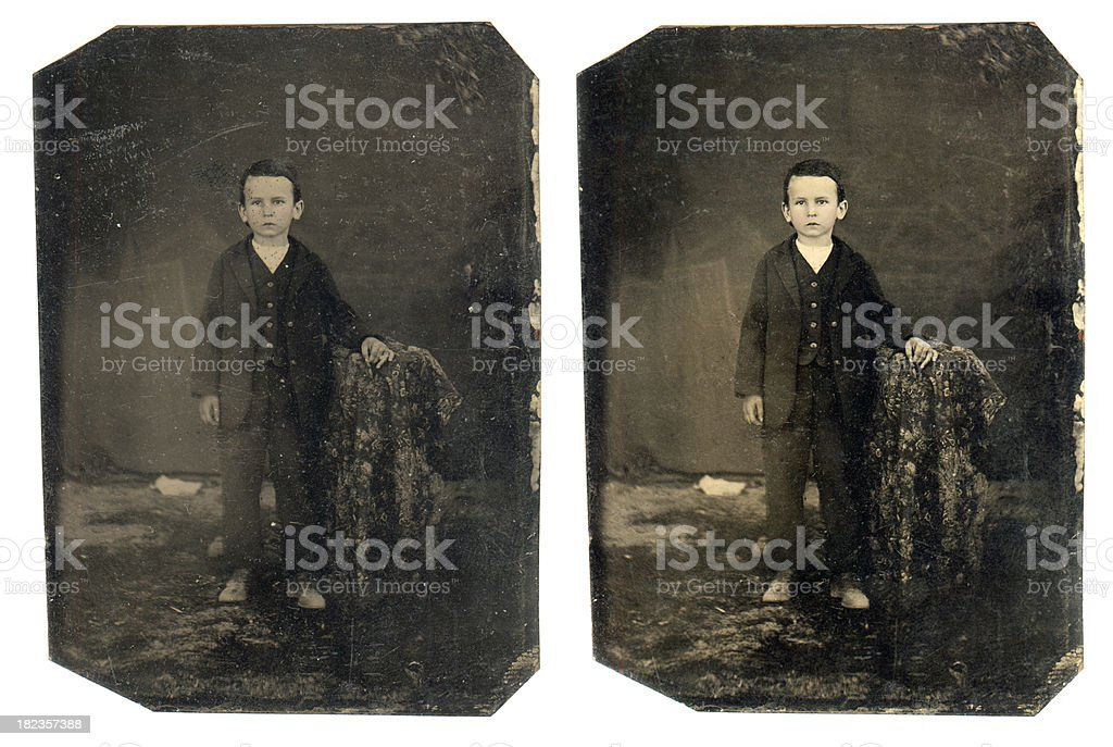 Victorian Young Boy - Old Tintype Photograph royalty-free stock photo