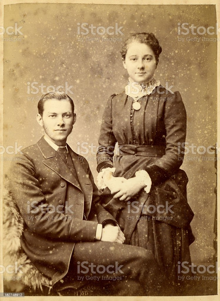 Victorian Young Couple Vintage Photograph royalty-free stock photo
