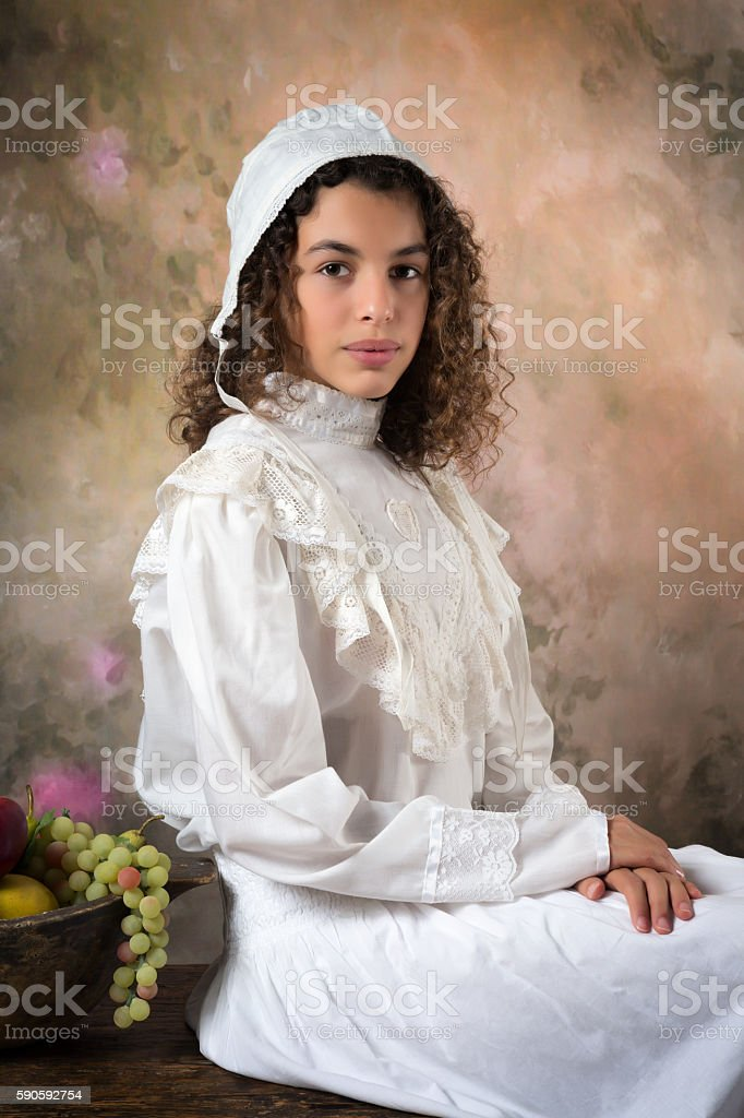 Victorian young lady stock photo