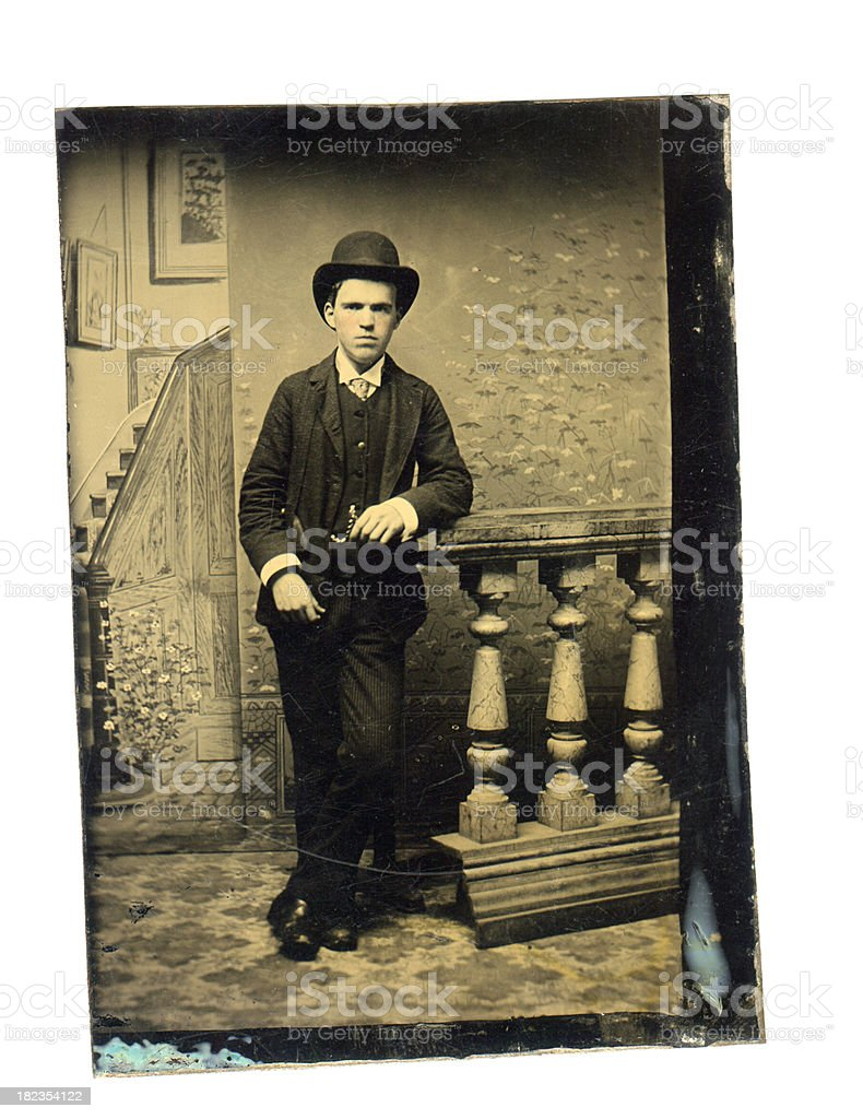 Victorian Young Man - Old Tintype Photograph stock photo