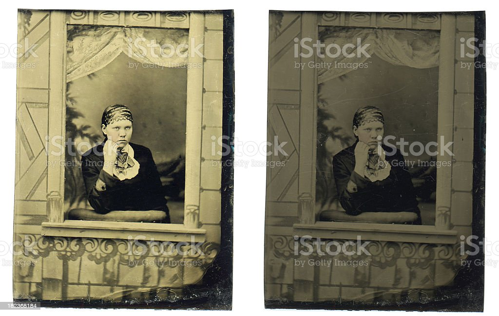 Victorian Young Woman - Old Tintype Photograph royalty-free stock photo