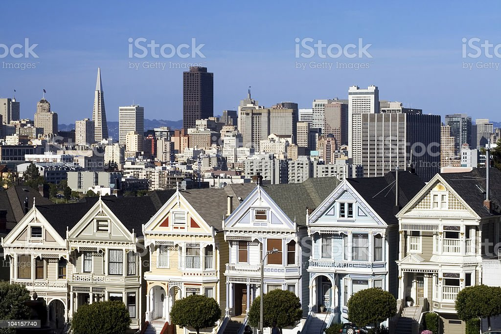 Victorians in San Francisco - Horizontal royalty-free stock photo