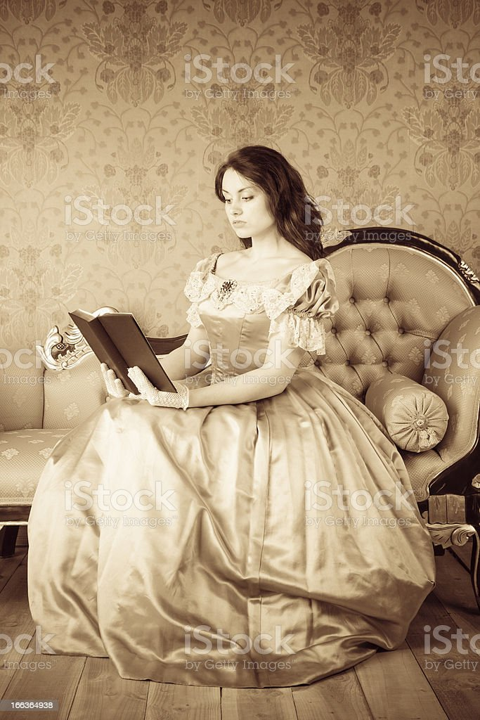 Victorian-style Girl Reading royalty-free stock photo