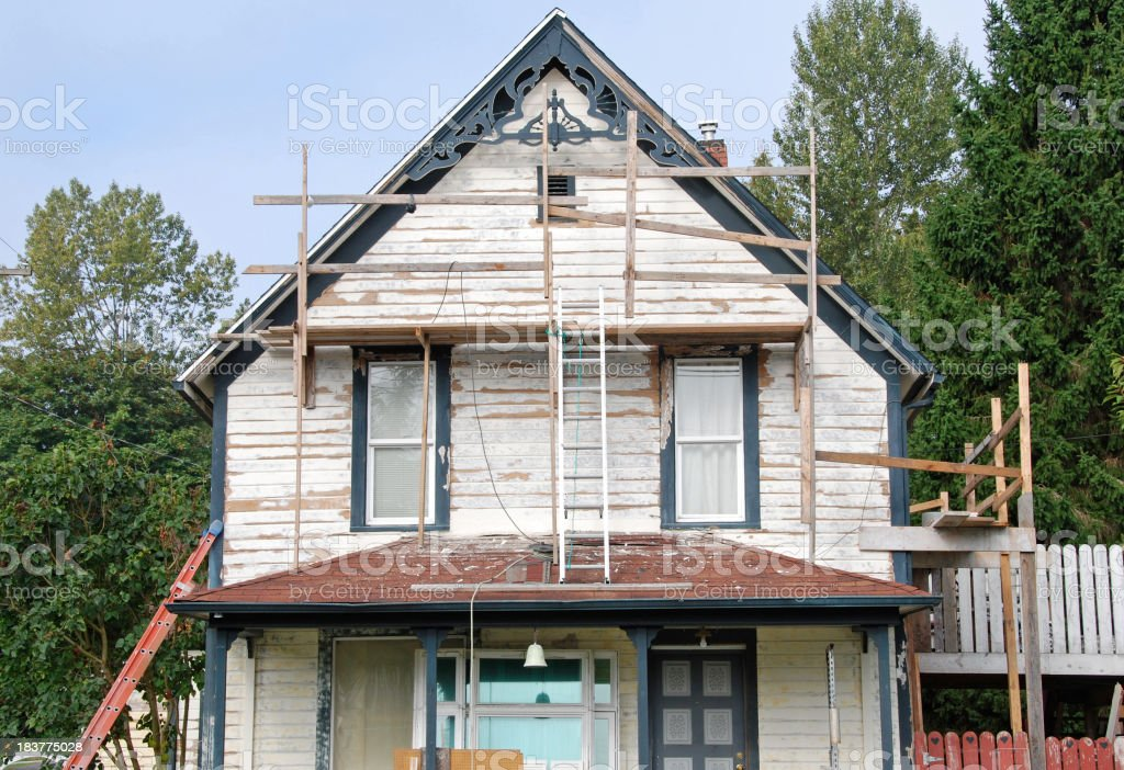 Victorian-style house under repair royalty-free stock photo