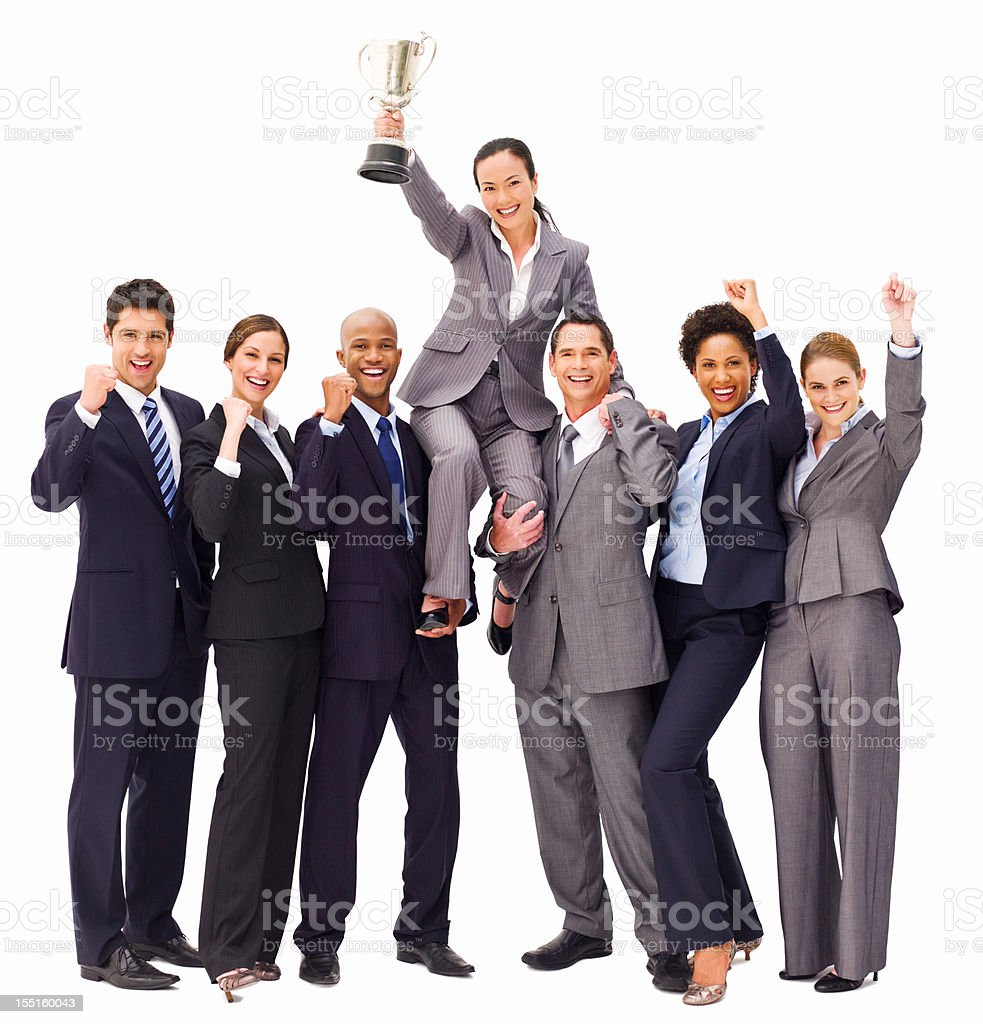 Victorious Business People With a Trophy - Isolated royalty-free stock photo