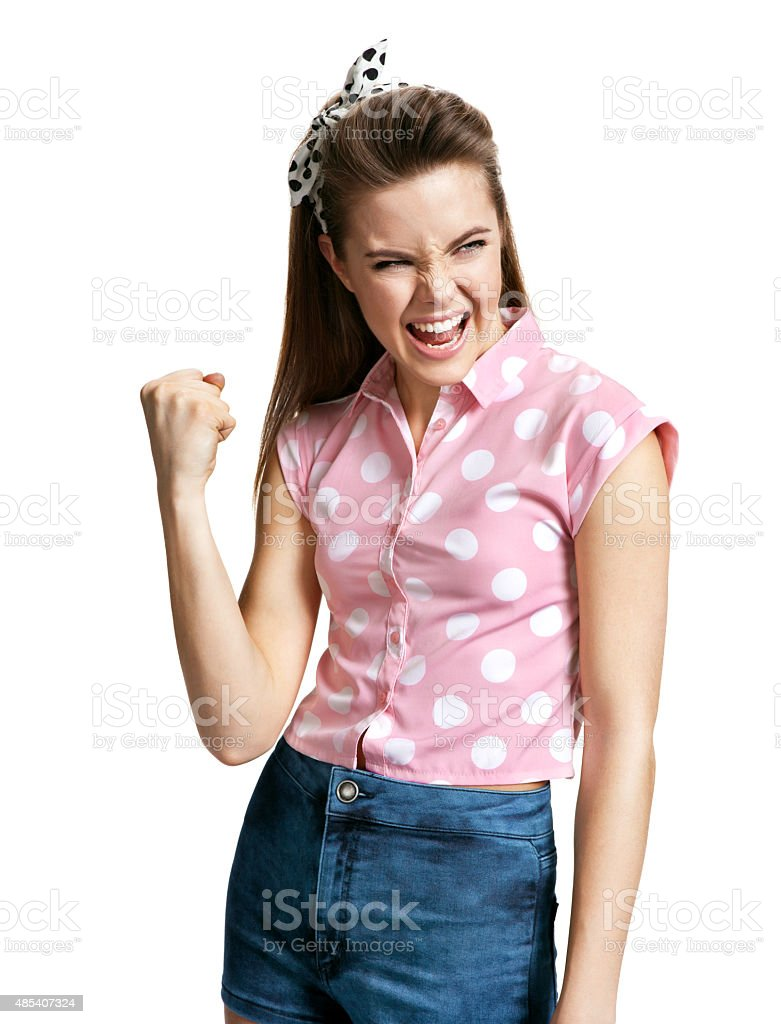 Victorious girl. Yeah! Fist pump stock photo