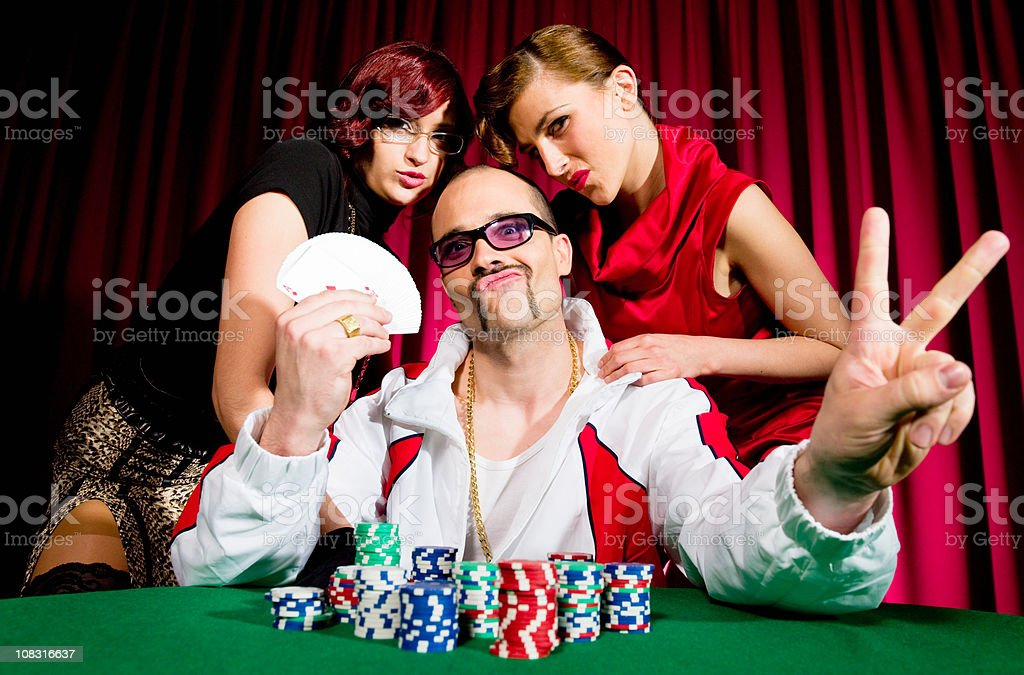 Victorious Poker Team stock photo