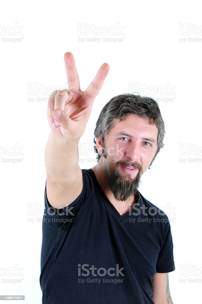 Victorious Sign by young man royalty-free stock photo