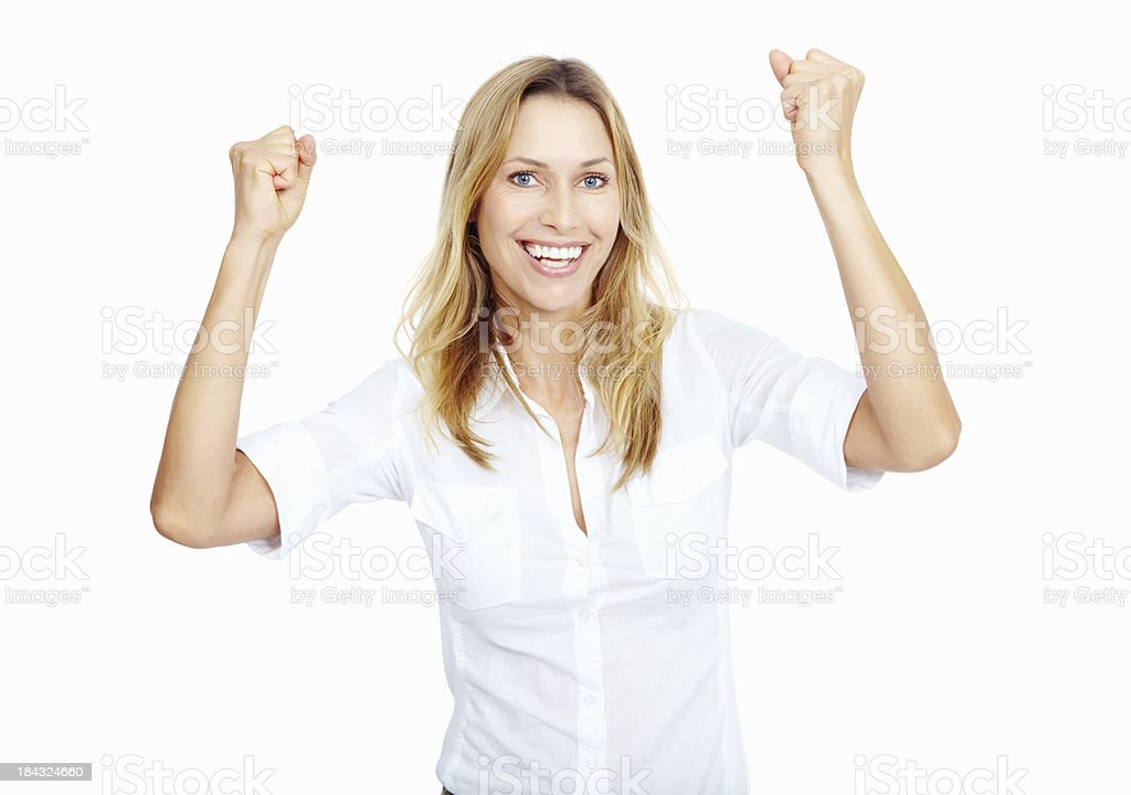Victorious woman stock photo