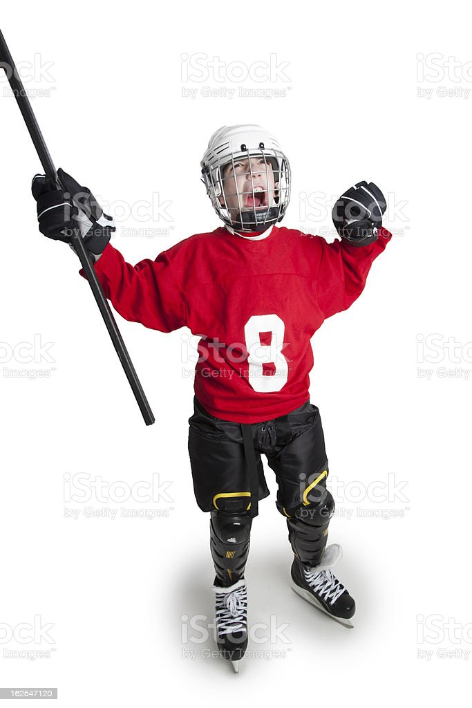 Victorious Youth Ice Hockey Player royalty-free stock photo