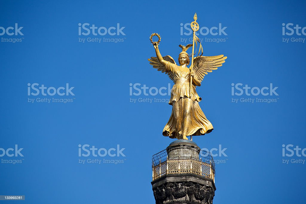 Victory Angel of Berlin against bright blue sky stock photo