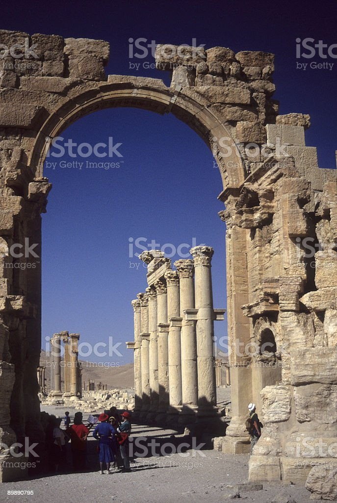 Victory Arch with tour group stock photo