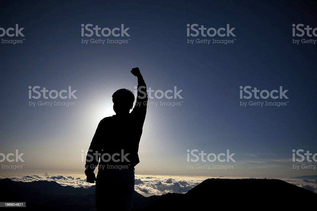 Victory at the Mountain top royalty-free stock photo